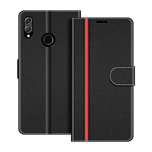 COODIO Funda Honor 8X con Tapa, Funda Movil Honor 8X, Funda Libro Honor 8X Carcasa Magnético Funda para Honor 8X, Negro/Rojo