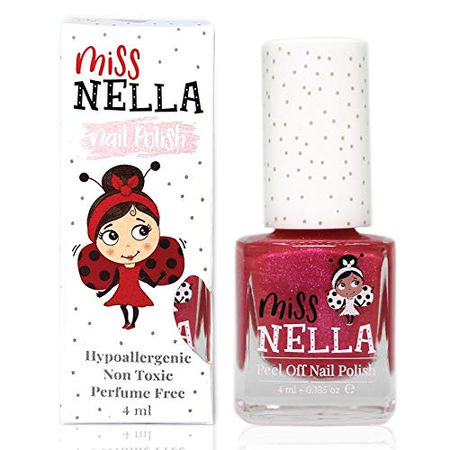 Miss Nella TICKLE ME PINK- Spezieller Rosa Nagellack mit Glitzer für Kinder, Peel-Off-Formel, wasserbasiert und geruchsneutral