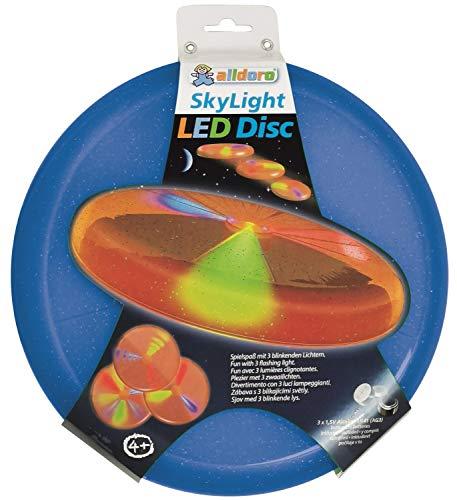 alldoro 63018 Sky Light Disc, Wurfscheibe Ø ca. 27 cm, Frisbeescheibe mit 3 LEDs, für Strand, Garten und Outdoor, Wurfspiel für Kinder ab 4 Jahren & Erwachsene, blau