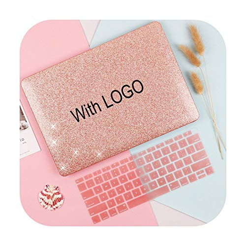 Shine Plastic Hard Shell Case Keyboard Cover for for MacBook Air Pro Retina 12 13 15 16 inch Touch bar 2020 A2179 A2159 A1932 Case-Glitter Pink cut-Air13 (A1466 A1369)