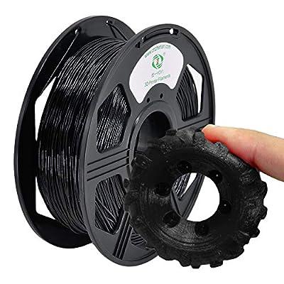 YOYI 3D Printer Filament,TPU Flexible Filament 1.75mm 0.8kg Spool Dimensional Accuracy +/- 0.03 mm,100% Europe Raw Material(black)