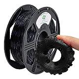 YOYI Filament flexible TPU 1,75 mm,Filament pour imprimante 3D, TPU Filament 0,8 kg, Précision dimensionnelle de la bobine +/- 0,02 mm pour Imprimante 3D (Transparent Noir)