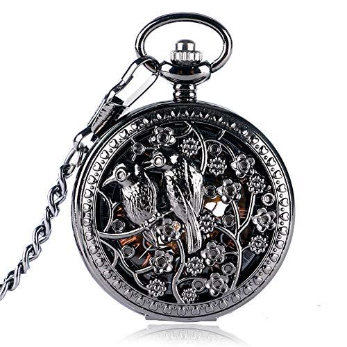 Taschenuhr, Vintage, Schwarze Hohle Vögel Blumen Gehäuse Skelett Taschenuhr für Herren, mechanische Taschenuhren Geschenk