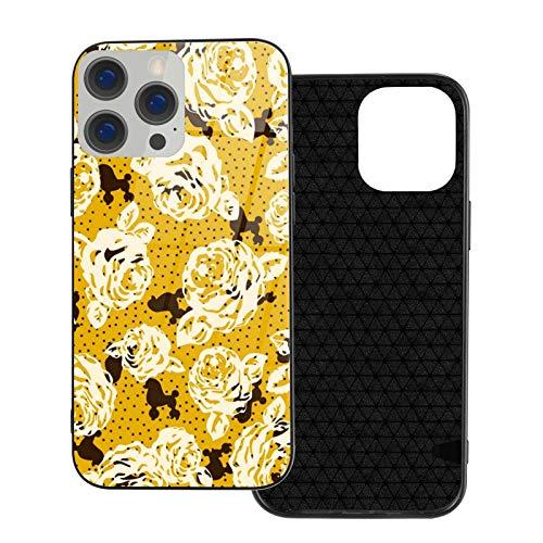 DOWNN Carcasa de cristal para iPhone 12, diseño de flores y perros, flexible, suave, protección trasera de poliuretano termoplástico, protección contra golpes, para iPhone 12/12 Pro/12 Mini/12 Pro Max