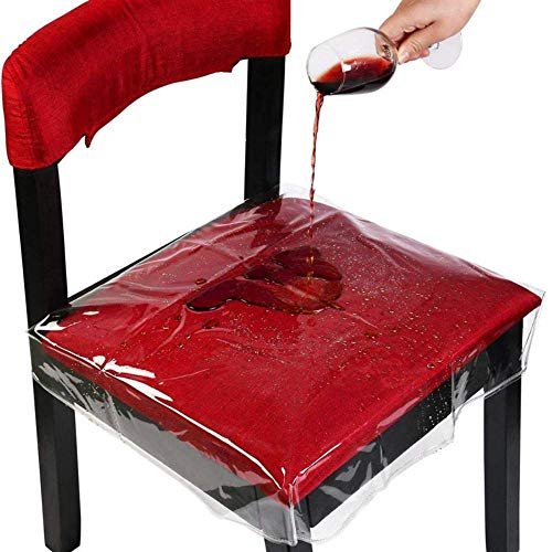 LLAAIT 4PCS PVC Chair Seat Covers Chair Protector Waterproof Removable Dining Chair Covers with Adjustable Strap for Most Chairs