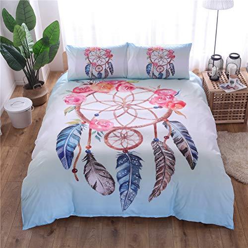 HNHDDZ Juego de cama 3 piezas funda nórdica y 2 fundas de almohada Double 200x200 cm Flower