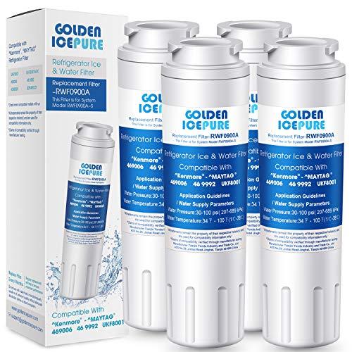 GOLDEN ICEPURE UKF8001 Kühlschrank-Wasserfilter kompatibel mit Kenmore 469006, 469992, Maytag, UKF8001P, AMANA UKF8001AXX, Aqua Fresh WF295, SWIFT GREEN SGF-M10, 4 Packungen