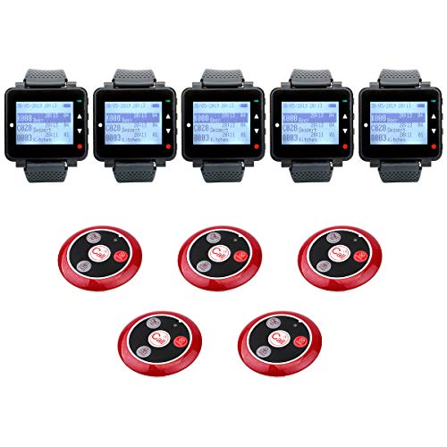 Retekess T128 Caregiver Pagers,Restaurant Pager System,Buzzer,Vibration,User-Defined,Show Call Type,5 4-Key Alert Call Button for Waiter,Customer,Chef