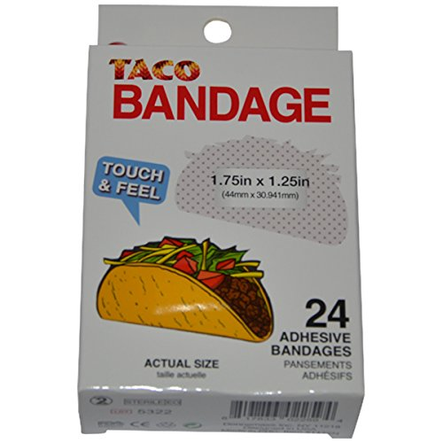 BioSwiss Novelty Bandages Self-Adhesive Funny First Aid, Novelty Gag Gift (24pc) (Taco)