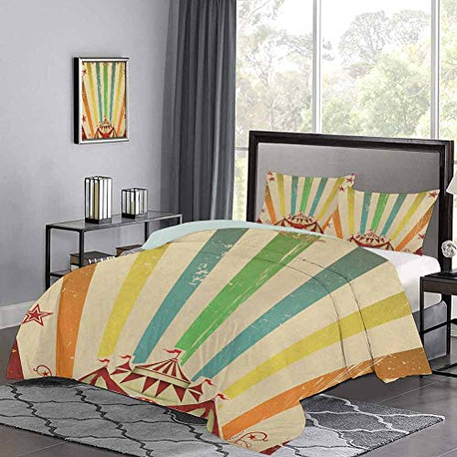 UNOSEKS LANZON Bedding Set Old Circus Carnival Advertisement Theme Stripes Stars and Fun Fair Tent Beautiful Duvet Cover Very Soft, Comfortable, and Classy Multicolor, Twin Size