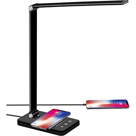 Lampe de Bureau LED avec Chargeur sans Fil, Port de Chargement USB, 5 Modes Lumière, 10 Niveaux de Luminosité, Réglable Lampe de Table protection des yeux,Contrôle sensible,30/60min Fonction Minuterie