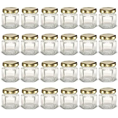 1.5 oz Hexagon Mini Glass Jars with Gold Lids and Labels (Pack of 24)