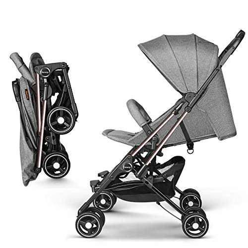 besrey leicht Kinderwagen Flugzeug Buggy Sitzbuggy mit Liegeposition kompakt klein klappbar ins Flugzeug für Reise ab Geburt bis 3 Jahren - Grau