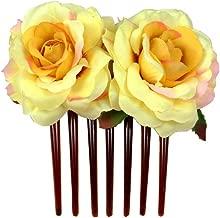 Kewl Fashion Women's Rose Flower Hair Ornaments Head Flower Seven Tooth Insert Comb