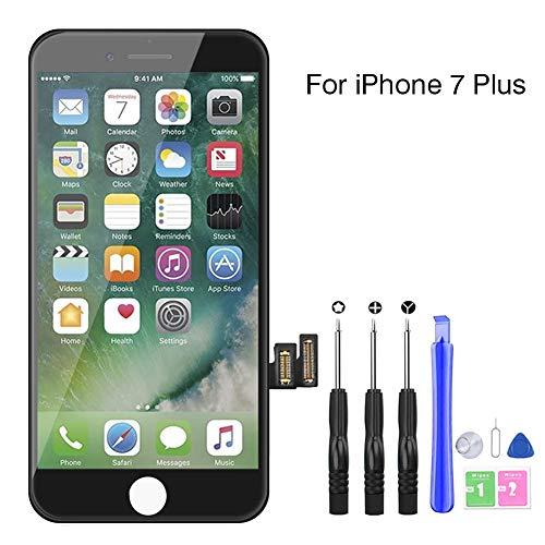 YoSuDa Kompatibel mit iPhone 7 Plus Display ersatzbildschirm(5,5''), Ersatz Für iPhone 7 Plus LCD Touchscreen Display Vormontiert Reparaturset mit Werkzeuge (Schwarz)