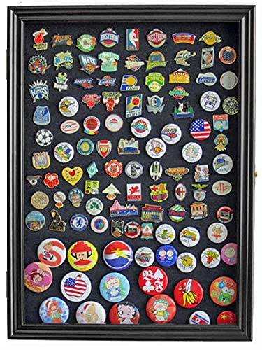 DisplayGifts Pin Display Case 98% UV with Glass Door for Military Medals, Beach Tags, Jewelry Pins, Pin Gift, Insignia Ribbons, Pin Collectibles Black Finish