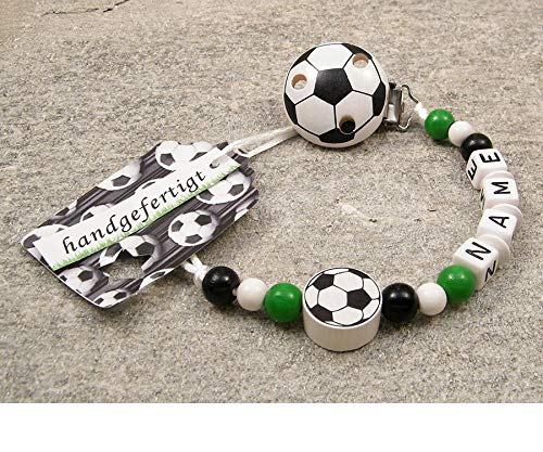 kleinerStorch Baby SCHNULLERKETTE mit Namen - Motiv Fussball in Vereinsfarben - schwarz, weiß, grün