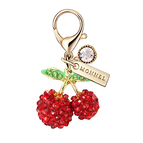 MC60 Crystal Cherry Lobster Clasp Charm Pendant with Pouch Bag (Red ,1 piece)