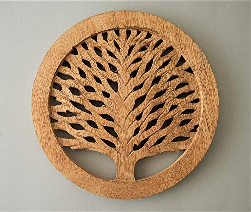 Wooden Trivets For Hot Pots and Pans Tea Pot Holder Tree of Life Design Heat Resistant Durable Handmade Mango Wood Kitchen Dining Table Accessories Dia 8'' Inch - Set of 2 (Natural)