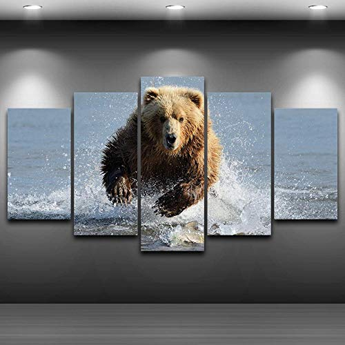 5 Pieces Dabble Water Grizzly Bear Pictures Wall Art Home Decor Canvas Paintings Living Room Prints Brown Bear Posters-4x6/8/10inchWith Frame