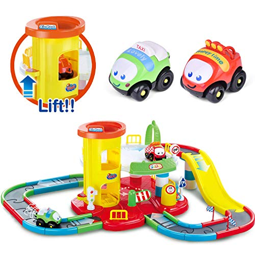 FUN LITTLE TOYS Race Cars Track Toys, Deluxe Race Track Set with Parking Garage Toy, Great Gift for Kids, Toddlers