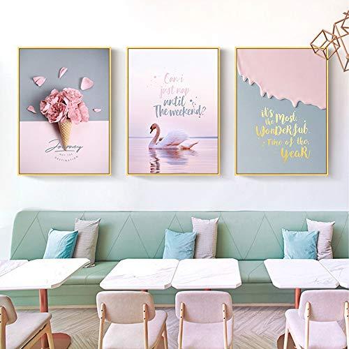 LCSD Mural Nordic Pink Life Swan Pintura Decorativa 3 Unids/Set De Oro Marco De Imagen Pintura Mural De La Pared Caliente 30 * 40 CM Simple Moderna Sala De Estar En Casa Sofá Hotel HD Micro Spray