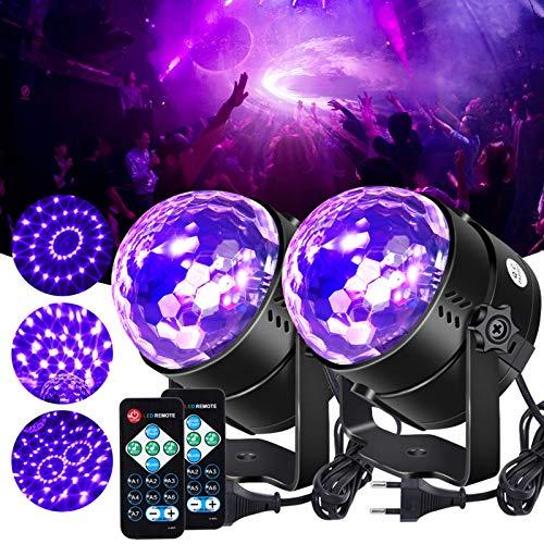 Litake UV Schwarzlicht Discokugel, LED Bühnenbeleuchtung 6W 7 Beleuchtung Modi Fernbedienung DJ Projektor Disco Party Lampe für Bar Weihnachten Halloween Hochzeit Geburtstag Show Verein