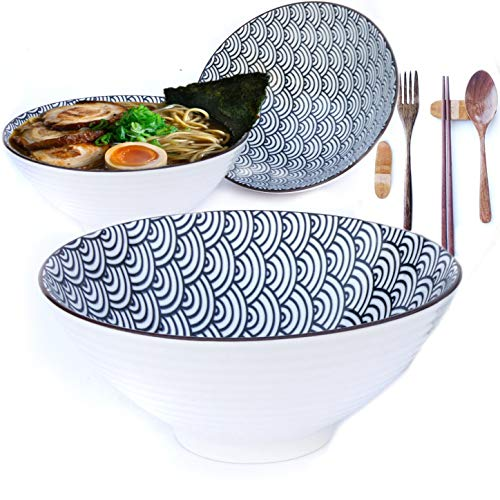 3 Ramen Bowls Sets (15 piece) Ceramic Large Pho Noodles Bowl Set. Waves Pattern. Asian Chinese Japanese or Pho Soup 32 oz. Fork Spoon Chopsticks and Stands.