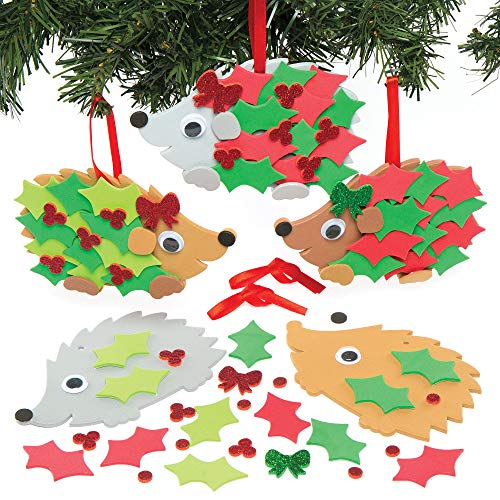 Baker Ross Kits de décoration Festive de Noël en Forme de hérisson orné de Houx Que Les Enfants pourront fabriquer et Exposer – Jouets de Loisirs créatifs en Mousse pour Noël (Lot de 5).