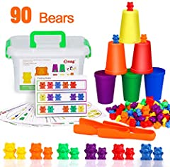 【MORE THAN JUST A SORTING AND COUNTING TOYS】This Rainbow Counting/Sorting Bears toy game set includes 90 bears (60 little bears,30 Big Bears),2 Jumbo Tweezers,11 Double-Sided cards,1 plastic storage box, Creating a fun experience for toddlers good an...