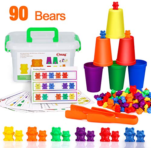 BMAG Counting Bears with Matching Sorting Cups,Number Color Recognition STEM Educational Toy for Toddler, Pre-School Learning Toy with 90 Bears,2 Tweezers,11 Activity Cards,1 Storage Box