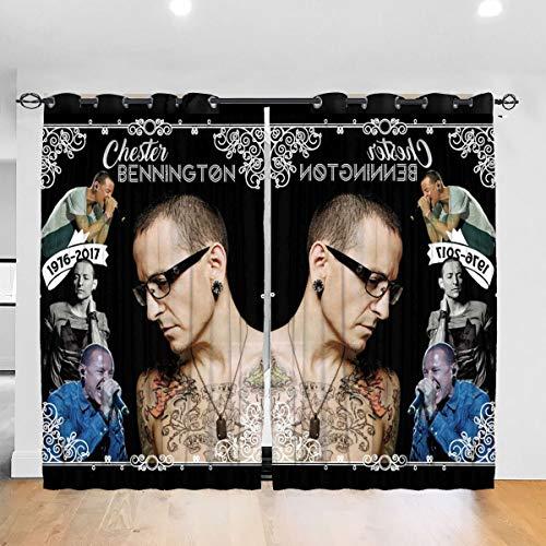 Hongyang Cortinas opacas personalizadas para ventana Chester Ben-nington 1976 2017 Tribute ojal térmico aislante habitación oscurecimiento cortina para dormitorio salón 52 x 72 pulgadas, 2 paneles