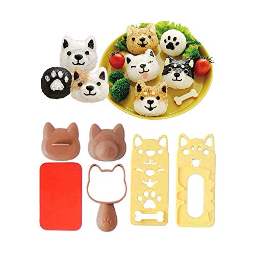 Fellibay Sushi Molds Rice Ball Molds Cartoon Dog Pattern Bento Accessories Nori Rice Making Kits Dessert DIY Picnic Tools for Kids Meal Lunch Bento Decor 1 Set