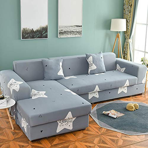 KIRA Stretch Couch Slipcover Universal Sofa Cover 1/2/3/4 Seater L Shaped Sofa Cover Chaise Longue Skin-Friendly Breathable Not Deformed Active Printing and Dyeing - with Pillowcase