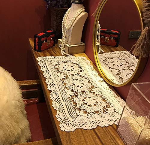 Janeve, centrini rettangolari in Cotone, Realizzati a Mano all'Uncinetto, Color Beige e Bianco, 40 x 71 x 89 cm Shabby Chic 16 by 28 inch Stivaletti da Pioggia zebrati - Bambini