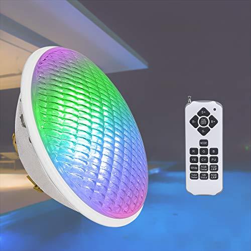 KWODE LED Poolbeleuchtung RGBW, 24W PAR56 Schwimmbadleuchten, 12V AC/DC Poolscheinwerfer, IP68 Wasserdicht Unterwasser LED Pool Lampe, LED Scheinwerfer mit Fernbedienung ersetzen 300W Halogen Spot
