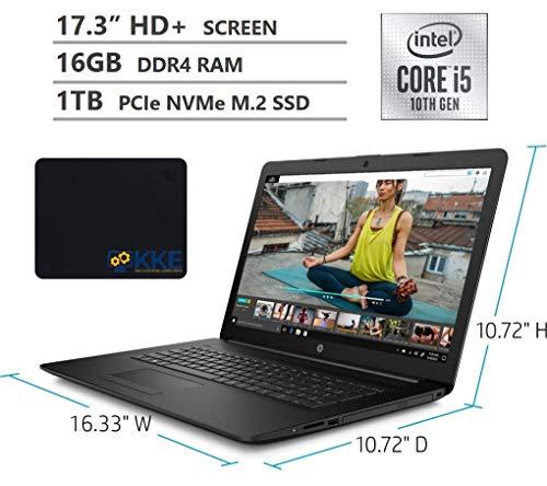 "2020 Newest HP 17.3"" HD+ Screen Laptop, 10th Gen Intel Core i5-1035G1 Quad-Core Processor up to 3.60GHz, 16GB DDR4 RAM, 1TB PCIe NVMe SSD, DVD, HDMI, Wi-Fi, Windows 10 Home, Jet Black, KKE Mousepad"
