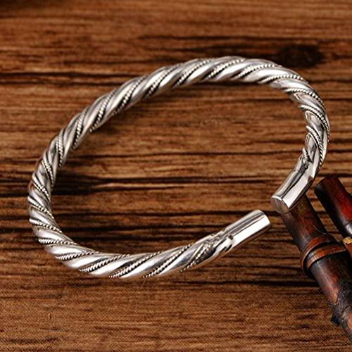 WOZUIMEI Brazalete Vintage de Estilo Chino S999 Brazalete de Plata Esterlina Joyería Cuerda Trenzada Trenzada Retro Unisex Pulsera AbiertaUna cuerda de cáñamo pesa alrededor de 30 g.