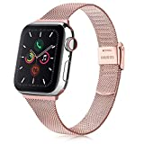 Senka Metal Correa Compatible con Apple Watch 38mm 40mm 42mm 44mm, Pulsera de Repuesto de Hebilla Ajustable Acero Inoxidable Fina Correa para iWatch Series SE 6 5 4 3 2 1 (38mm/40mm, Rosa)
