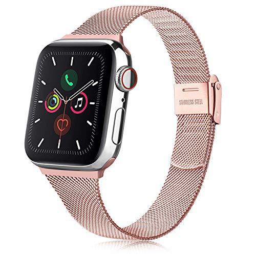 Senka Metal Correa Compatible con Apple Watch 38mm 40mm 42mm 44mm, Pulsera de Repuesto de Hebilla Ajustable Acero Inoxidable Fina Correa para iWatch Series SE 6 5 4 3 2 1