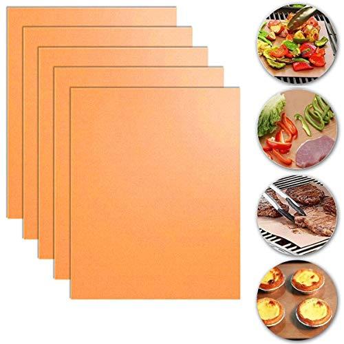 YiRAN Copper Grill Mat, 5-Pack Heavy Duty Magic BBQ Grill Mats Non Stick,...