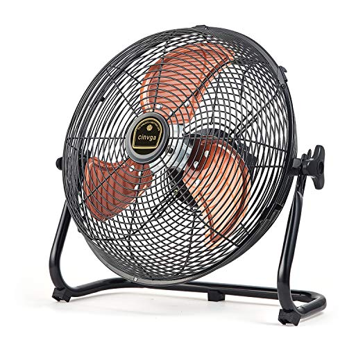 Cinviga Black Wireless Floor Fan 16quot Metal Blade Outdoor Camping Fan Can Running Time 4 to 24 The Fan With USB Output Function For Home  CampingBarbecue