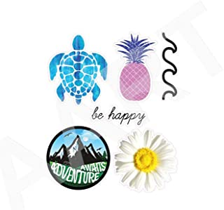 AArtTM Cute Ocean Vinyl Decal Stickers, HD Cute Ocean/Beach Vinyl Laptop and Water Bottle Stickers Pack, Cute Ocean/Beach/Adventure Vinyl Decal 5 Pack (Ocean/Beach/Summer)