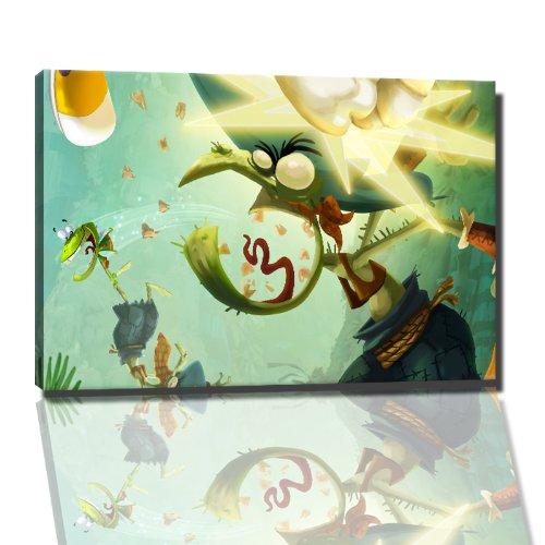 Rayman foto op canvas - 60 x 40 cm kant-en-klare kunstdruk afbeeldingen als muurschildering - Goedkoper dan olieverfschilderij of schilderij - GEEN poster of affiche