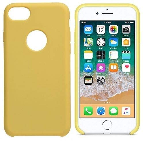 CABLEPELADO Funda silicona compatible con iPhone 7 agujero logo textura suave Amarillo claro