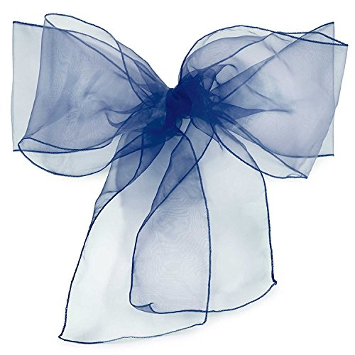 Elina Home Pack of 10 Organza Net Chair Cover Bow Sash Wedding Banquet Decor Coral (10, Navy Blue)