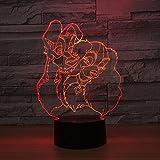 Lampe de table 3D créative deux chiots LED cadeau de veilleuse acrylique USB multicolore