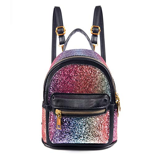 SEALINF Women Girl Bling Mini Backpack Convertible Shoulder Cross Bags Purse (black-2)