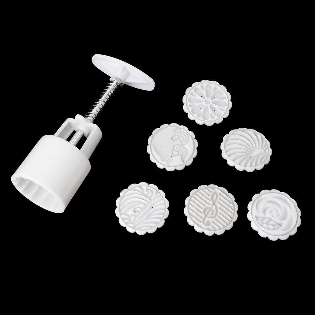DENGNI Ranking TOP9 7Pcs Stamps 50g Round Flowers Cake Moon Pastry Mold 5 ☆ popular Mould