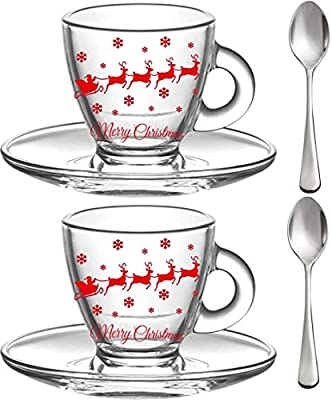 Christmas Espresso Cups, 3.2-Ounce. Small Demitasse Clear Glass Espresso Drinkware, Set Of 2 Cups, Saucers and Stainless Steel mini Spoons, Hostess, Coffee Lover/Enthusiast, (christmas)